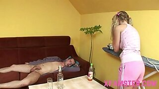 Brazzers xxx: Skinny young hot blonde amateur takes a cock in her tight pussy