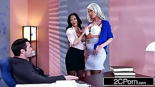 Brazzers xxx: Olen and Price Geist threesome in his earthy office