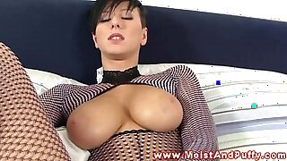 Brazzers xxx: Busty solo babe pounded and ready to suck