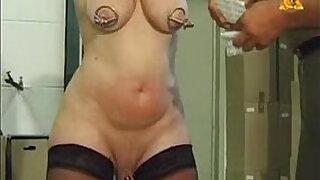 Brazzers xxx: Mature slave slut Heidy with heavy genital n nip piercings