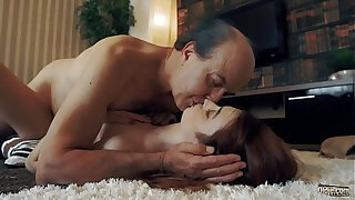 Brazzers xxx: Innocent sweet blonde Teen Swallows and Spits cum after Romantic Sex with Grandpa