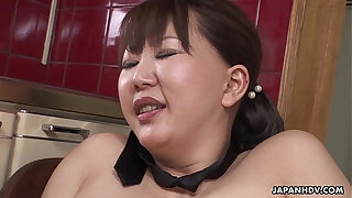 Brazzers xxx: Chubby Japanese MILF moans while her hairy pussy is toyed
