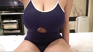 Brazzers xxx: Titfucking huge tits through hole in swimsuit and leaving sticky mess