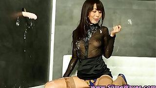 Brazzers xxx: Asian fetish slut gets bukkake slime