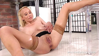 Brazzers xxx: Milf mops up her own piss with her big natural tits