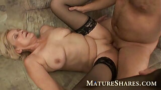 Brazzers xxx: Grandma in black stockings nailed