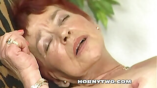 Brazzers xxx: Hairy granny takes a lot big dick in her red haired old wet pussy till cum